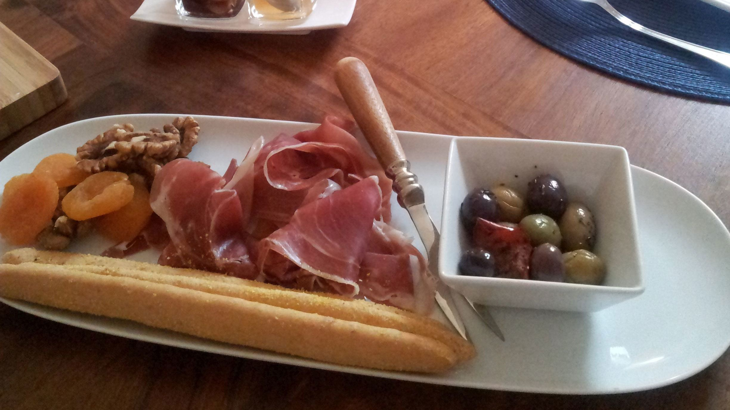 Appetizers at the wine tasting in Cannes