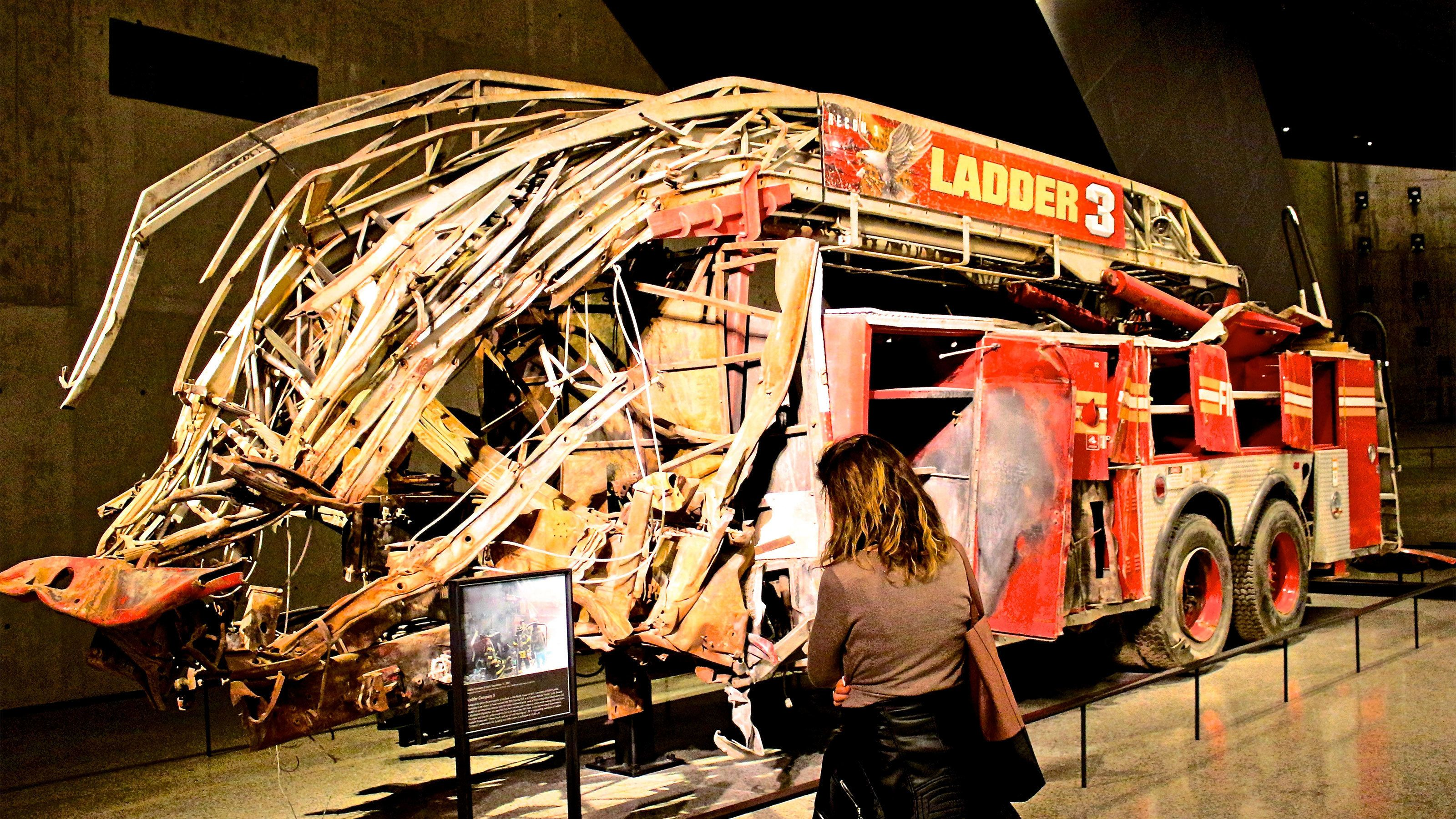 Demolished firetruck at the National September 11 Memorial and Museum in New York