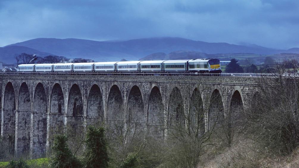 Train crossing a bridge in Ireland