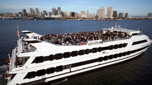 Two story yacht with a rooftop deck is featured on this Coronado Bay brunch cruise