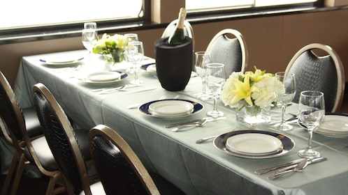 Champagne and brunch table on the cruise ship in Newport Beach