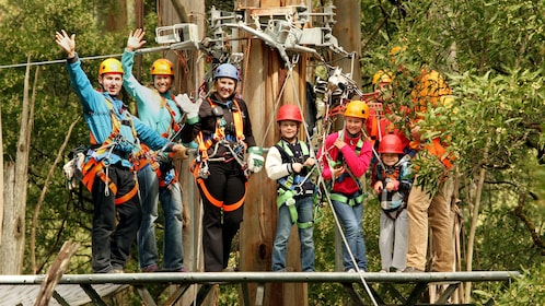 A group of people ready for zip lining in Illawarra