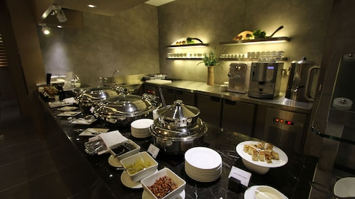The buffet at Kota Kinabalu International Airport Lounge