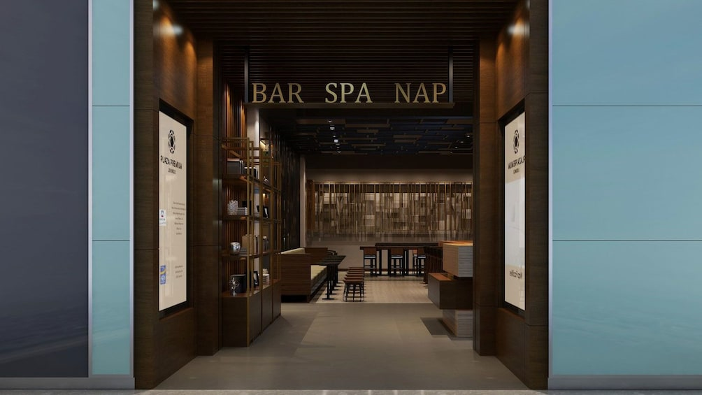 Show item 2 of 5. Bar, spa and napping area at Plaza Premium Lounge in London