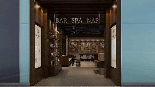 Bar, spa and napping area at Plaza Premium Lounge in London