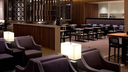 leather seating at Plaza Premium Lounge in London