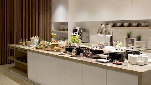 kitchen area with buffet at Plaza Premium Lounge in London