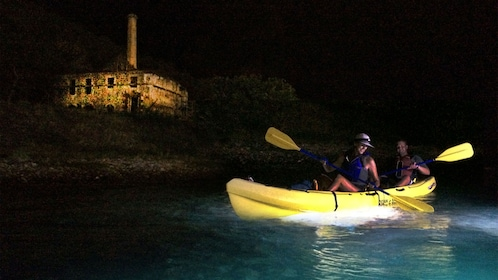 Couple embarks on a pirates and ghosts night kayak tour in the Virgin Islands