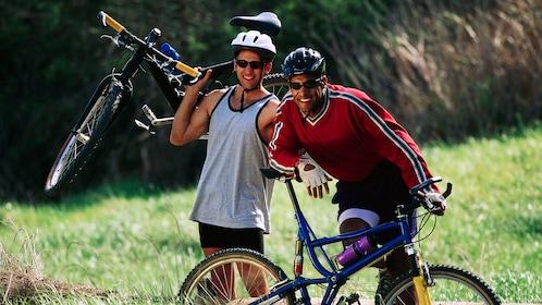 Friends taking a break from mountain biking in Denver