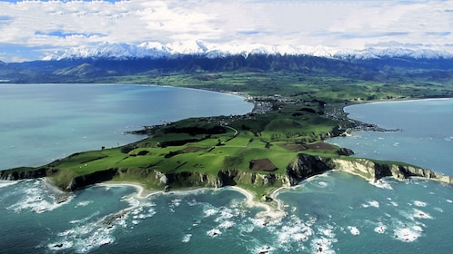 Aerial of peninsula in the Kaikour whale watching tour in Christchurch New Zealand.