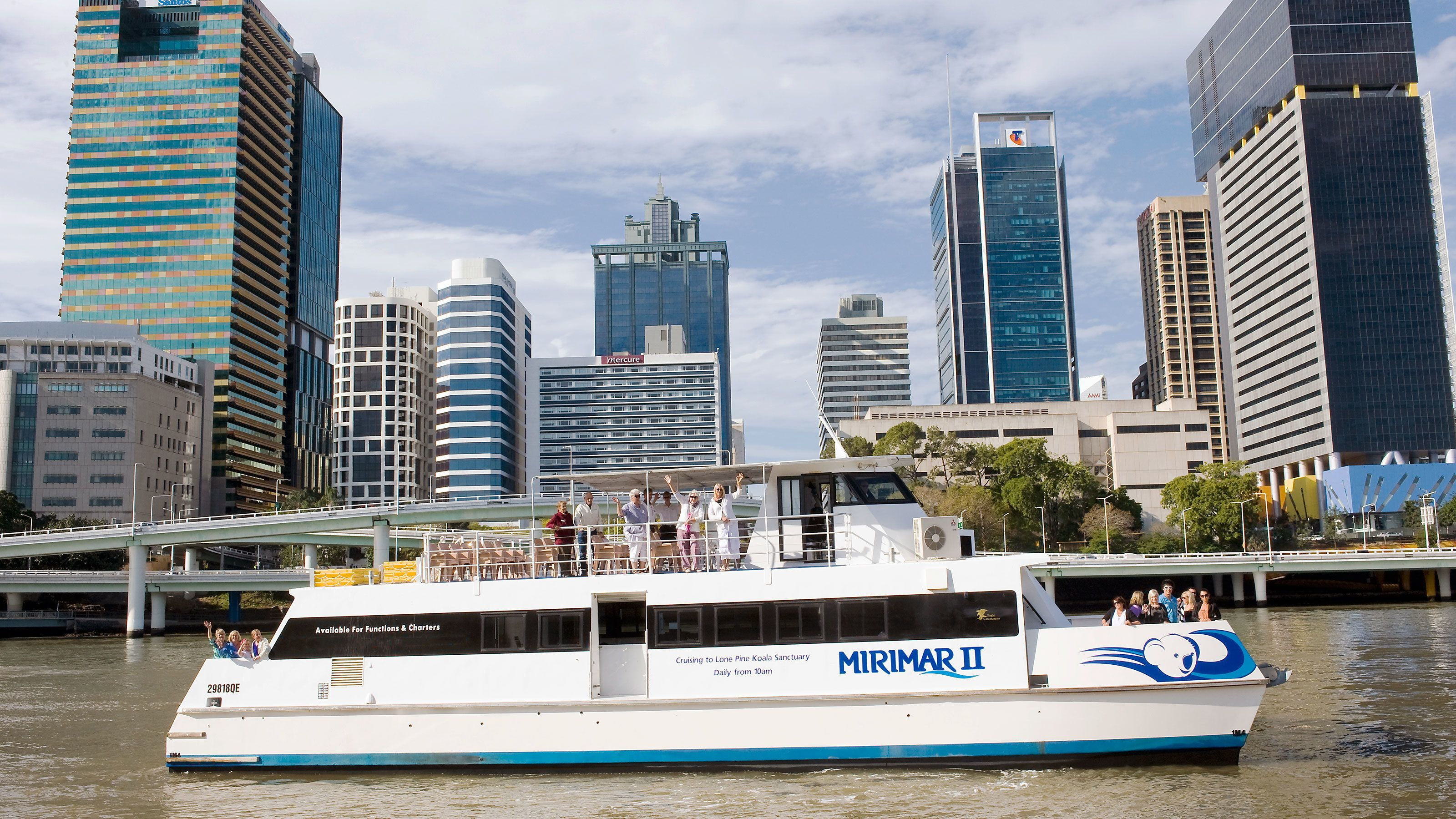 Waving from the cruise ship in Brisbane