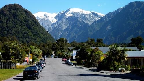 City view of Franz Josef Glacier in West Coast Franz Josef Glacier tour in Christchurch New Zealand.