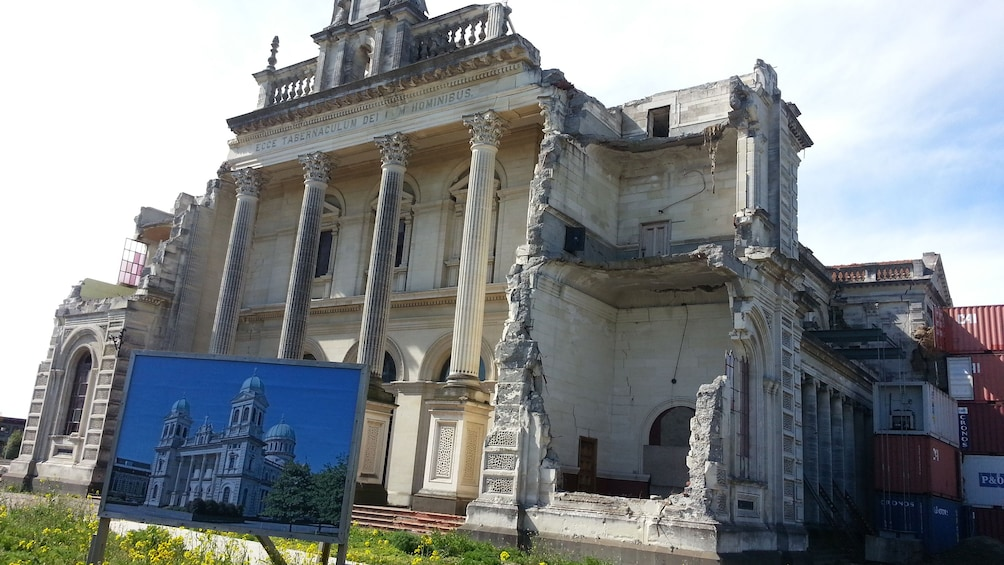 Historical ruins of building Christchurch City Tour in Christchurch New Zealand.