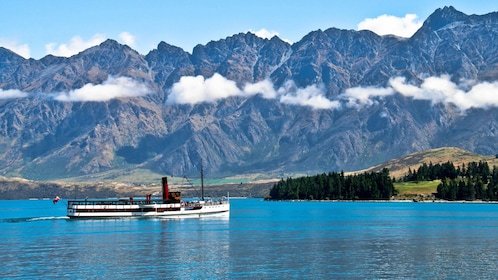 Ship on water in southern circle in Christchurch New Zealand.