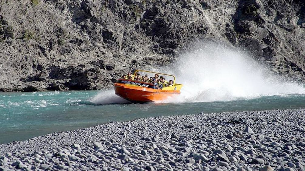 Show item 5 of 5. Jet Boat in the Waimak Gorge in New Zealand.