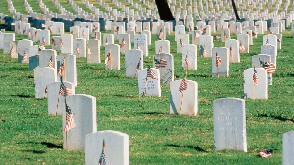 Show item 5 of 8. Small American flags mark the ground in front of the veterans headstones at Arlington National Cemetery in Washington DC