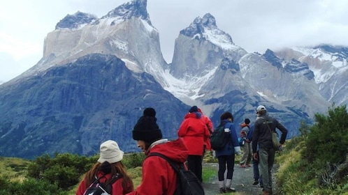 Tourists walking at Torres del Paine National Park