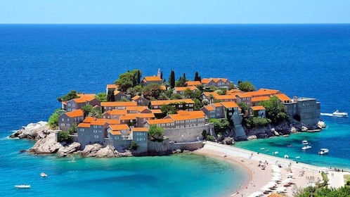 Budva's walled Old town in Montenegro