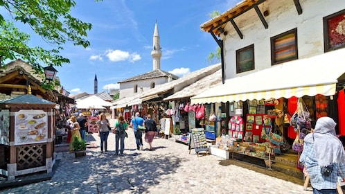Outdoor shops and market in Mostar