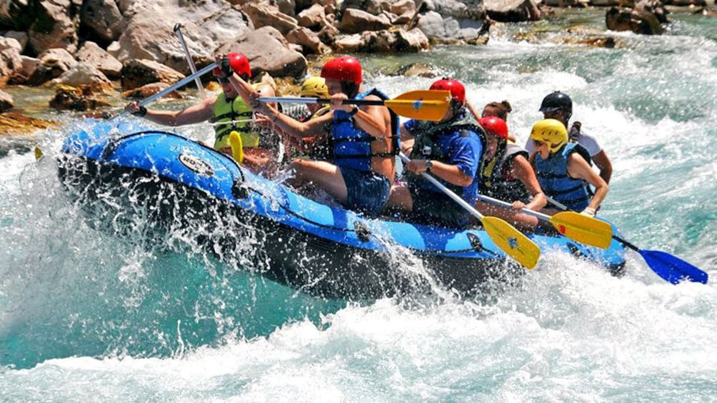 River rafters navigating the tough rapids in Dubrovnik