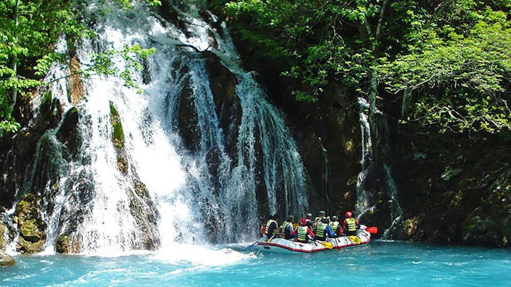 River rafters resting near a small waterfall in Dubrovnik