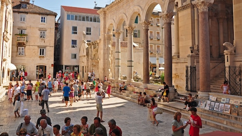 Standing columns of the Diocletian's Palace in Dubrovnik