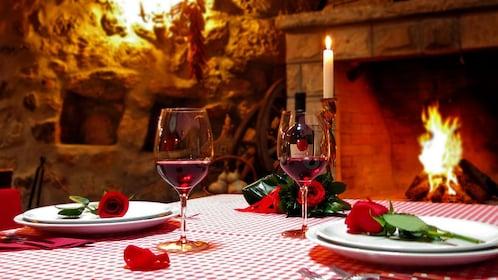 Romantic dinner table set up in Dubrovnik