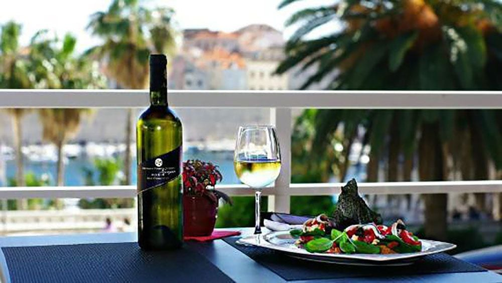 Lunch with wine in Dubrovnik