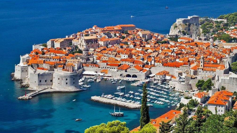 Fortified walls of the Old Town in Dubrovnik