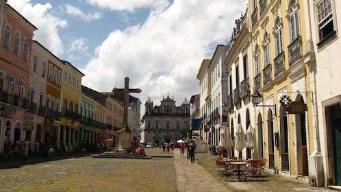 Cross and Sao Francisco Church in central Salvador