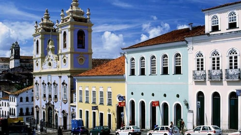 Colorful buildings line the streets in Salvador