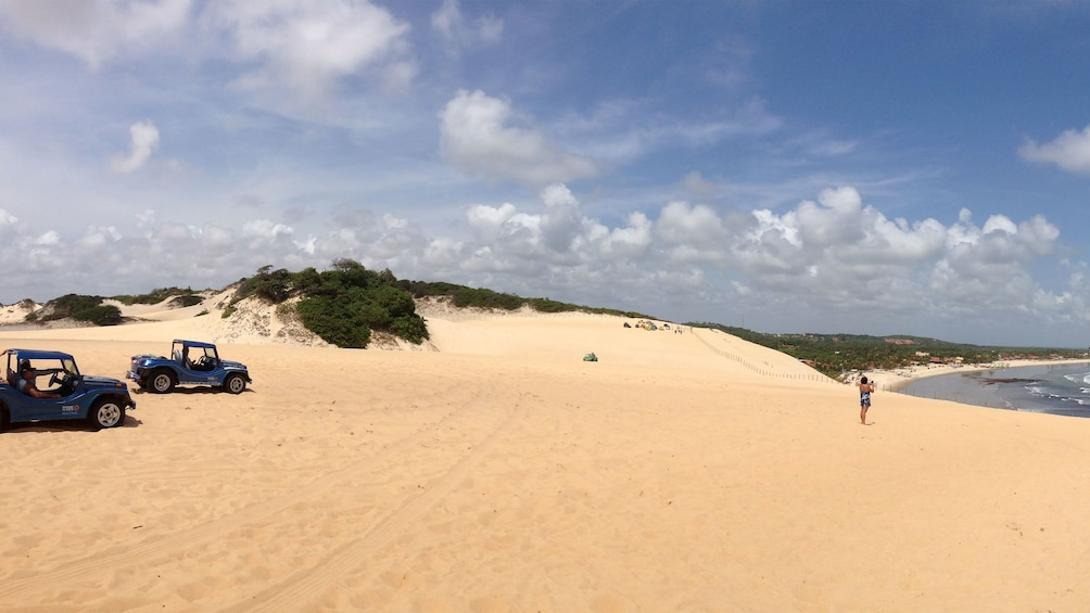 Buggies parked on the dunes along Mangue Seco beach