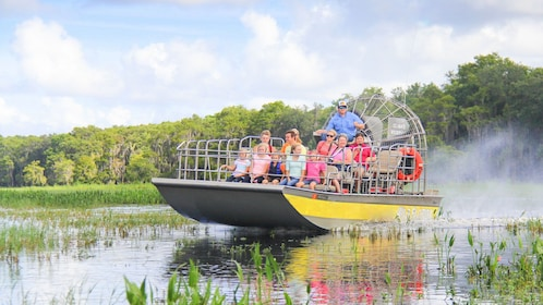 Airboat with group in the everglades in Orlando.