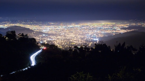 Panoramic view of the city of San Jose lit up at night in Costa Rica