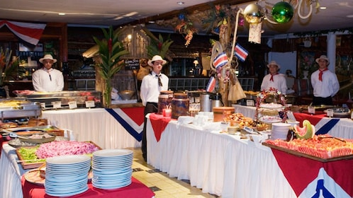 Buffet of traditional Costa Rican food at the Ram Luna Dinner Show in San Jose