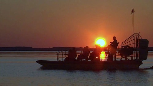 Airboat at sunset with group in Orlando.