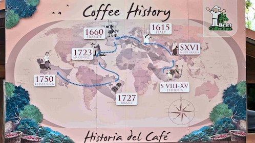 Map of the world depicting the history of coffee at a plantation tour in San Jose
