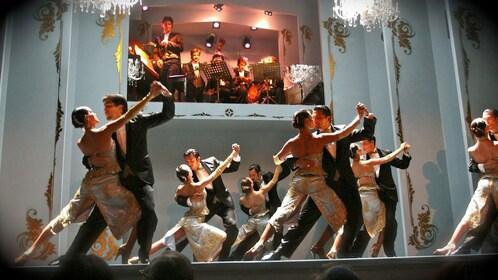 Group of dancers performing a tango at the Café de los Angelitos Tango Show in Buenos Aires