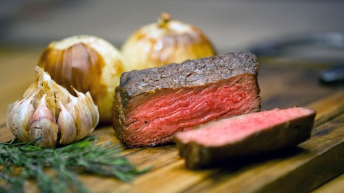 Close up view of steak cooked in Buenos Aires