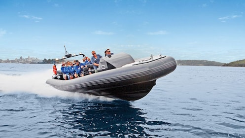 People on the extreme offshore speed boat ride in the Gold Coast of Australia.