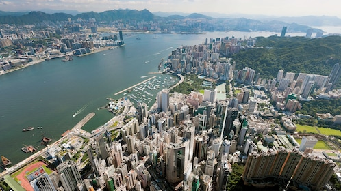 Flying over the cityscape in Hong Kong