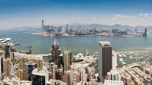 Riding the helicopter above Hong Kong