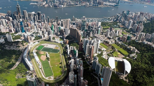 Flying over parks and recreation spaces in Hong Kong