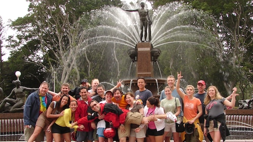 Group of people on Sydney classic bike tour in Australia.