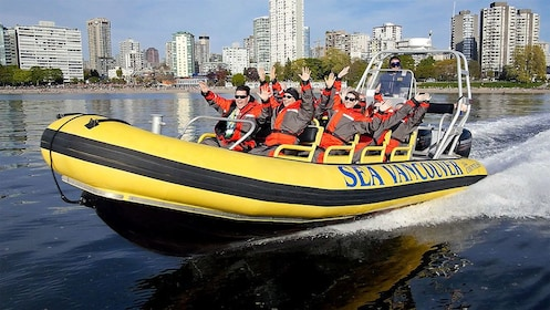 Raft speeding through the water in Vancouver