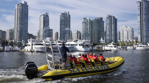 Viewing the cityscape on raft in Vancouver
