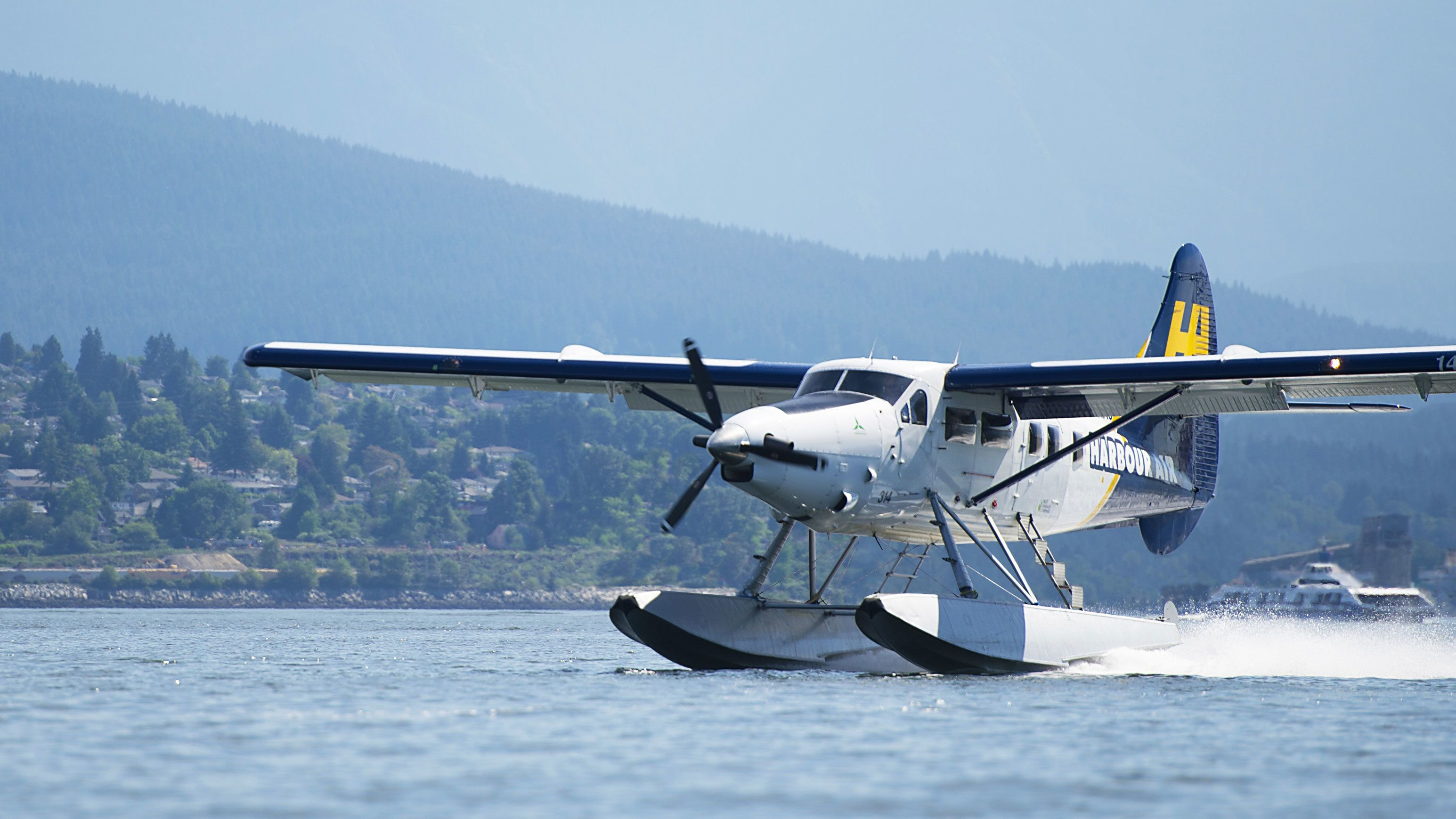 Plane landing on the water in Vancouver