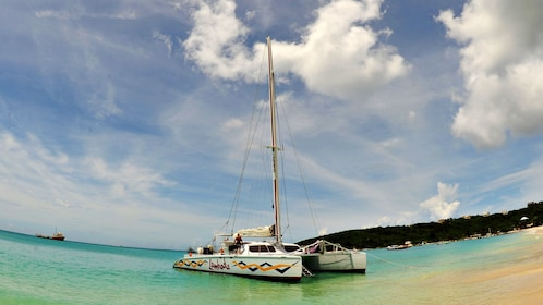 Lambada catamaran setting sail on the Anguilla Channel