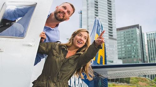 Man and woman in a seaplane in Vancouver