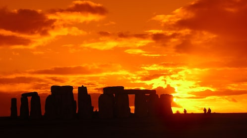 sunset behind Stonehenge in London